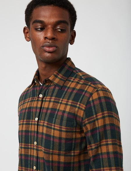 Portuguese Flannel Woods Check Shirt - Green
