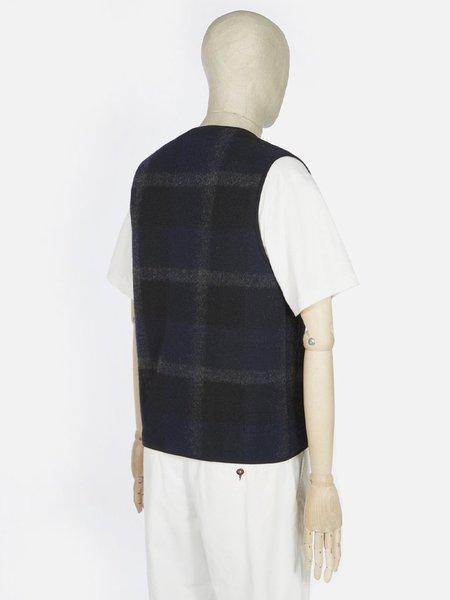 Universal Works Plaid Fleece Zip Gilet - Black/Grey