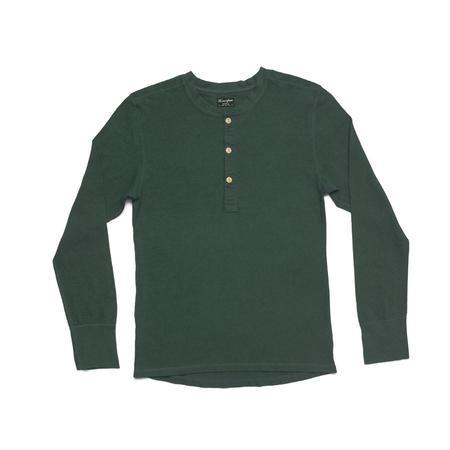 Homespun Knitwear Coalminer Long Sleeve Henley - Spruce