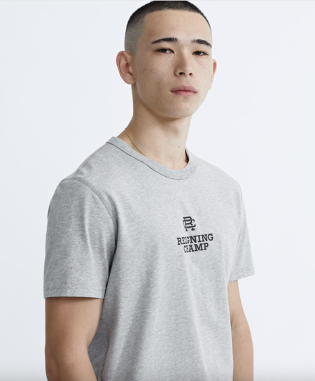 Reigning Champ Mens Knit light weight Jersey Lock up T shirt - heather grey