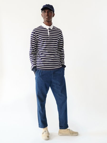 MAGILL KEATON STRIPED RUGBY top - NAVY/IVORY