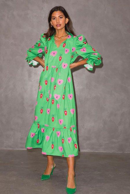 NEVER FULLY DRESSED x Patsy Heart Print Dress - Green