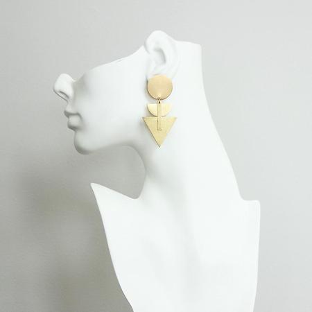 David Aubrey Inc Brass Chrysler Deco Post Earrings