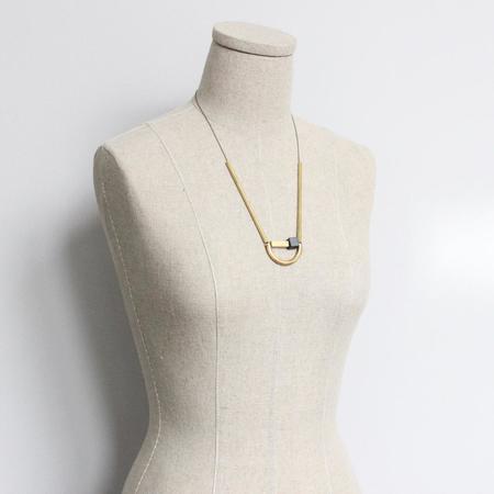 David Aubrey Inc Arch Necklace - Brass/Hematite