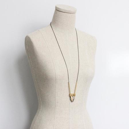 David Aubrey Inc Jasper Pendant Necklace - brass