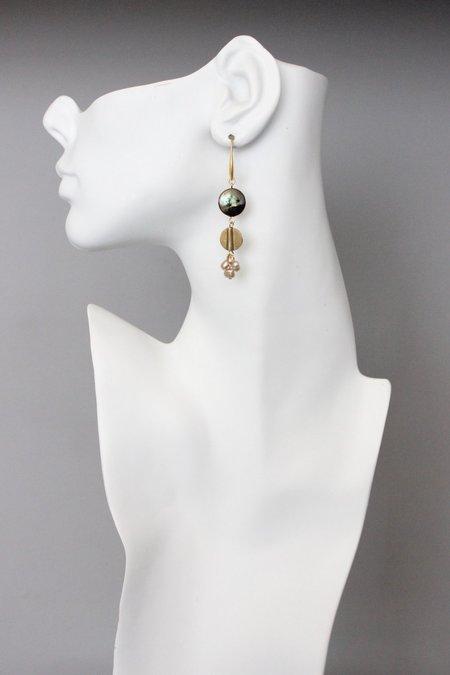 David Aubrey Inc Pearl Cluster and Brass Hook Earrings
