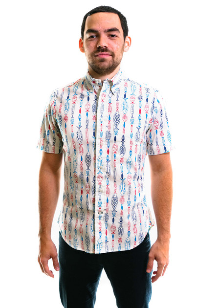 Gitman Vintage SS Gone Fishing Shirt - White
