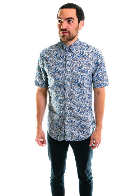 Gitman Vintage SS Xiangzi's Garden Blues Shirt - Blue
