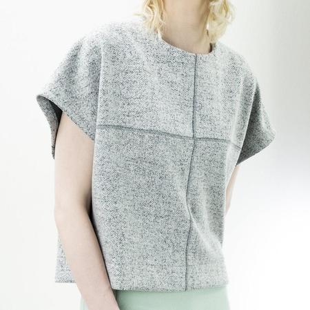 Jude Clothing Wilson Top - Grey Herringbone Boucle