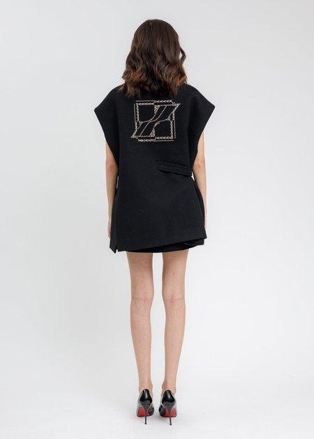 we11done Metal Hotfix Iron Detail Oversized Wool Vest - Black