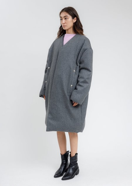 we11done  Padded Flannel Oversized Coat - Grey
