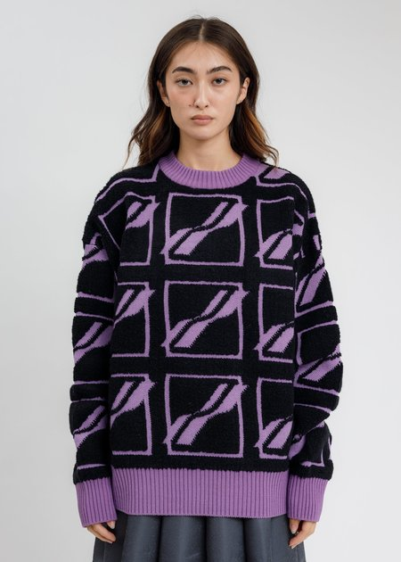 we11done  Square Logo All Over Pile Knit Jumper - Purple