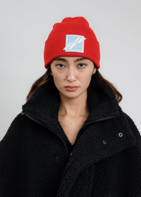 we11done Logo Patched Wide Rib Beanie - Red