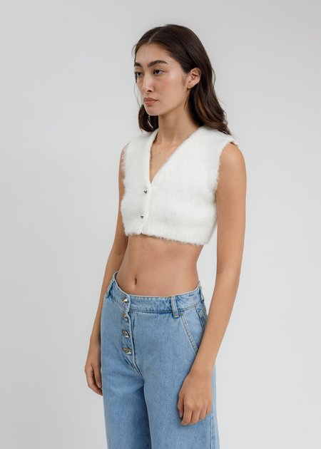 we11done Furry V NECK Knit Crop Cardigan - White