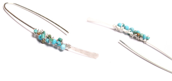 James and Jezebelle Turquoise Silver Paperclip Earring