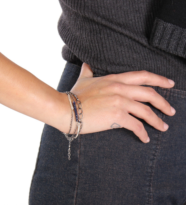Sarah Dunn Tusk & Sapphire Silver Chain Bracelet