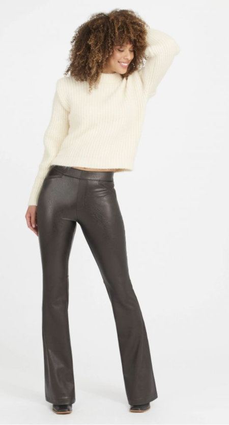 SPANX Leather Like Flare Pant - black