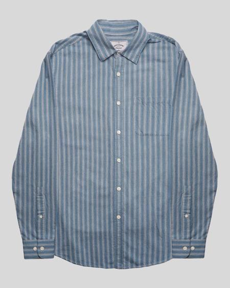 Portuguese Flannel Flannel Stripe Shirt - Pastel Blue