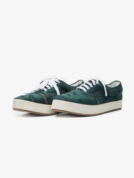 [Pre - Loved] Miharayasuhiro Distressed Low Top Textile Sneakers - Dark Green