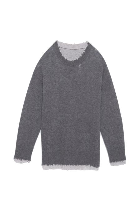 R13 Reversible Crewneck Sweater - Grey/Light Heather Grey