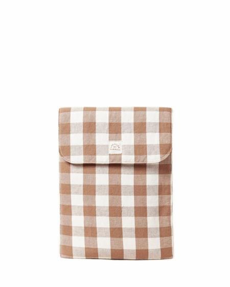 Loeffler Randall  Mary Laptop Case - Cream/Brown Gingham