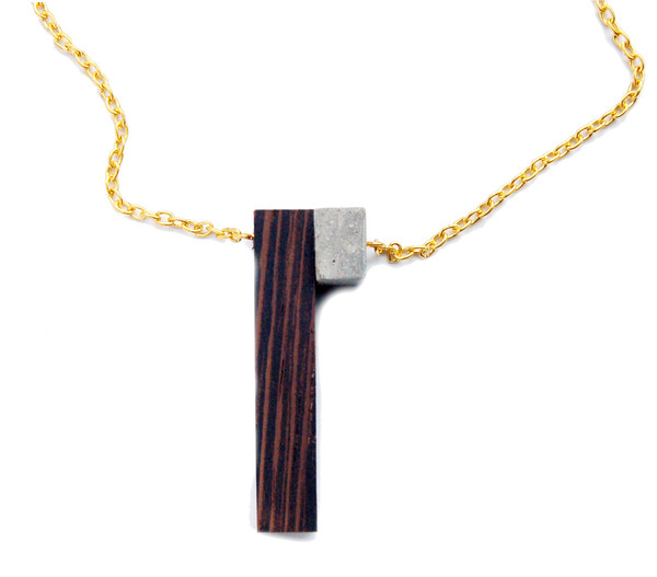 Wedge + Cube Necklace
