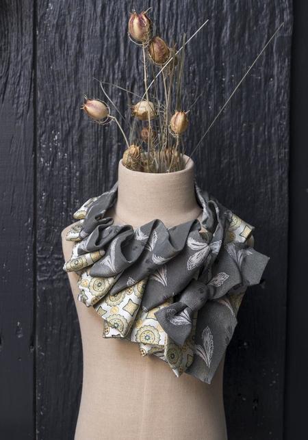 Lilian Asterfield Aster Silk Ascot -  Sage/Yellow
