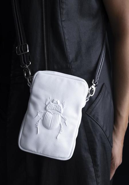 Gabriele Frantzen Scarab Embossed Leather Cross Body/Belt Bag - White
