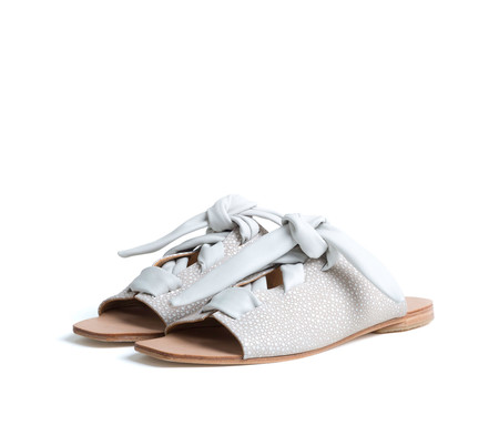the palatines shoes texo sandal - cream shagreen print leather