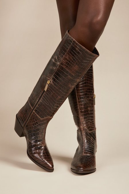"""INTENTIONALLY __________."" Martina Boots - Cognac Reptile"