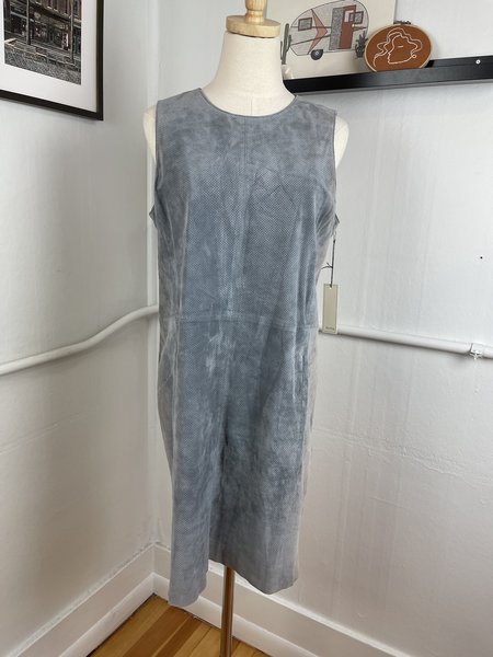 [pre-loved] Ecru Leather Mini Dress - Blue/Grey