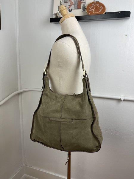 [pre-loved] Hobo Suede Shoulder Bag - Green
