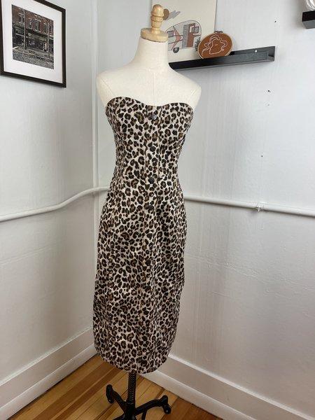[Pre-Loved] Veronica Beard Strapless Midi Dress - Cheetah