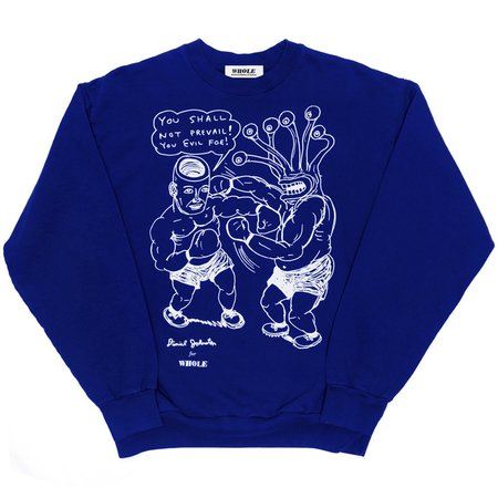 Unisex Skim Milk / WHOLE You Shall Not Prevail Sweater - Cobalt Blue
