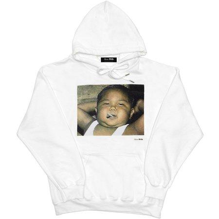 Unisex Skim Milk Kid Smoking Hoodie - White