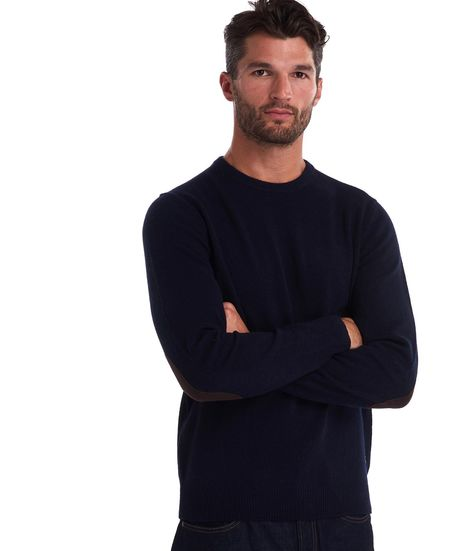 BARBOUR Patch Crew Neck Wool Sweater - Navy