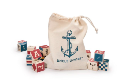 Kid's Uncle Goose Nautical ABC Blocks with Canvas Bag