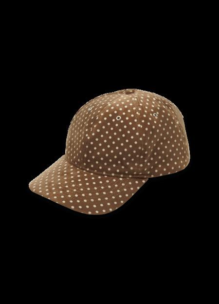 YMC Women's Cotton Velvet Dot Print Baseball Hat - Camel