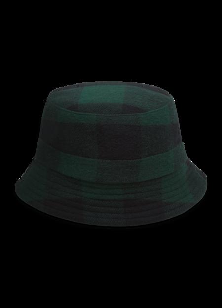 YMC Women's Wool Blend Check Bucket Hat - Blue Green