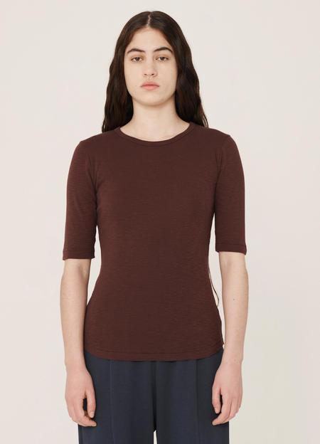 YMC Charlotte Rib Cotton Slub Jersey Short-Sleeve T Shirt - Burgundy
