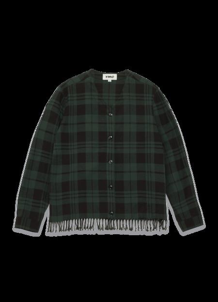 YMC Mays Cotton Buffalo Check Fringe Hem Shirt - Green/Black