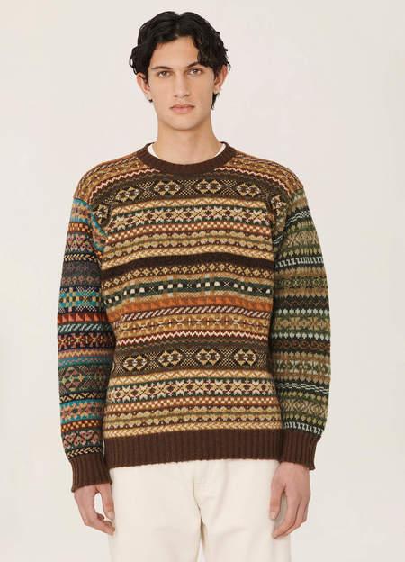 YMC Wings Shetland Wool Fair Isle Crew Neck Knitted Jumper - Green Multi