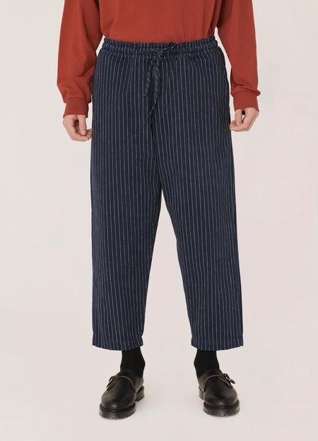 YMC Alva Cotton Pinstripe Skate Trousers - Navy