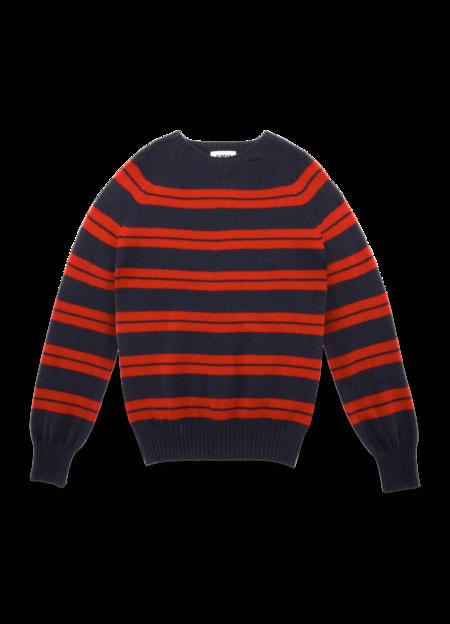 YMC Suedehead Fine Lambswool Stripe Crew Sweater - Navy Red