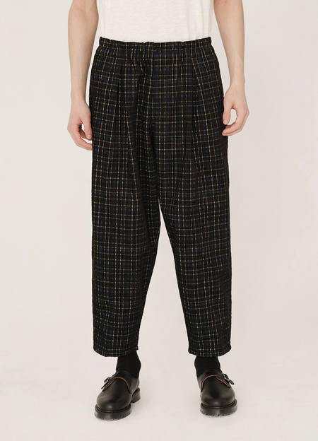 YMC Sylvian Cotton Check Cord Trousers - Black Multi