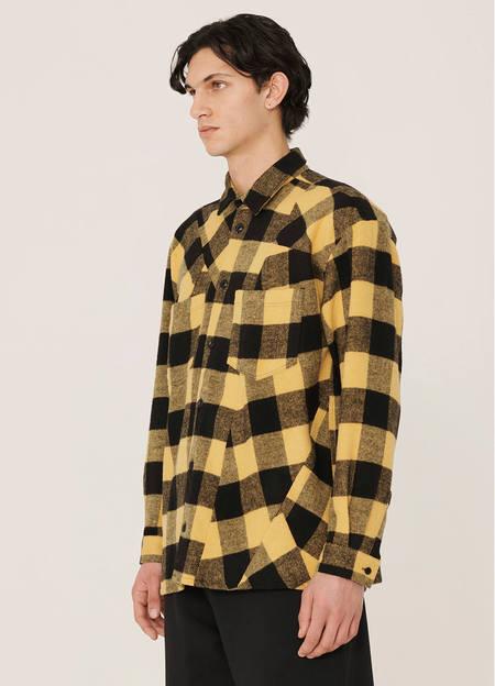 YMC Mitchum Wool Blend Check Shirt - Black Yellow