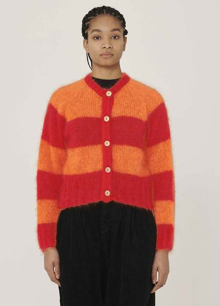 YMC Foxtail Mohair Cardigan - Red Orange