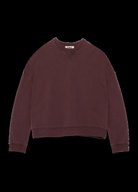 YMC Almost Grown Cotton Loopback Sweatshirt - Burgundy