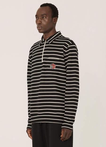 YMC Sugden Organic Cotton Lookback Stripe Sweatshirt - Black Ecru
