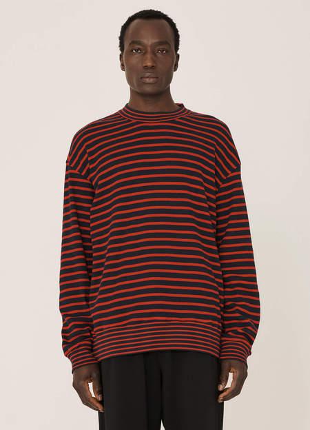 YMC Daisy Age Organic Cotton Waffle Stripe Sweatshirt - Navy Red